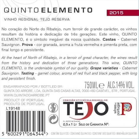 Tinto 5º elemento Cabernet Sauvignon 2015