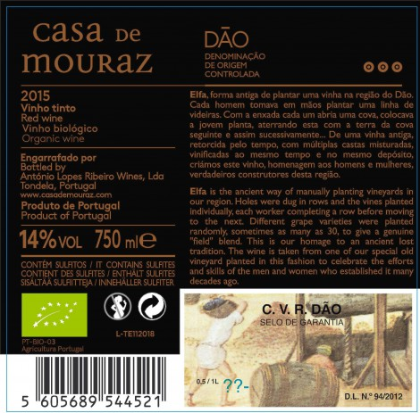 Tinto Casa de Mouraz Elfa 2015 Bio