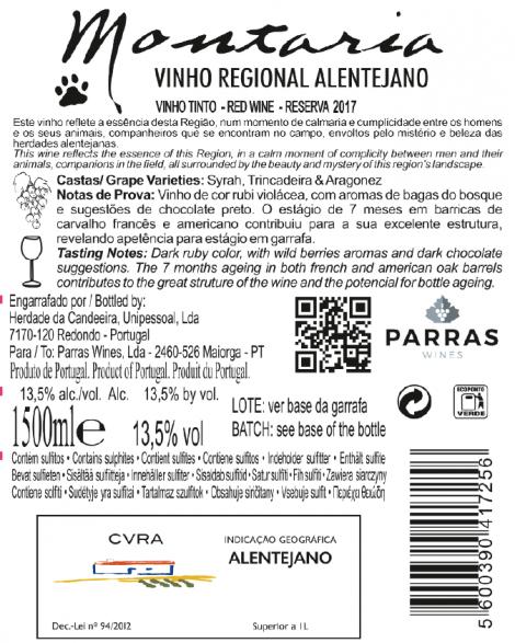 Tinto Montaria Magnum Reserva 2017 cx de madeira