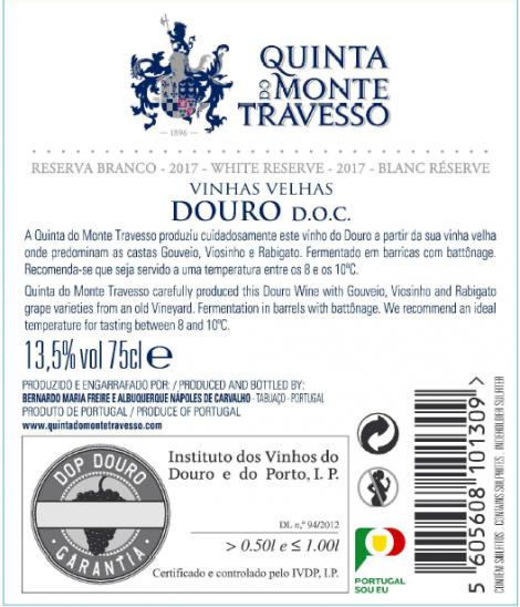 Branco Quinta do Monte Travesso Reserva 2016