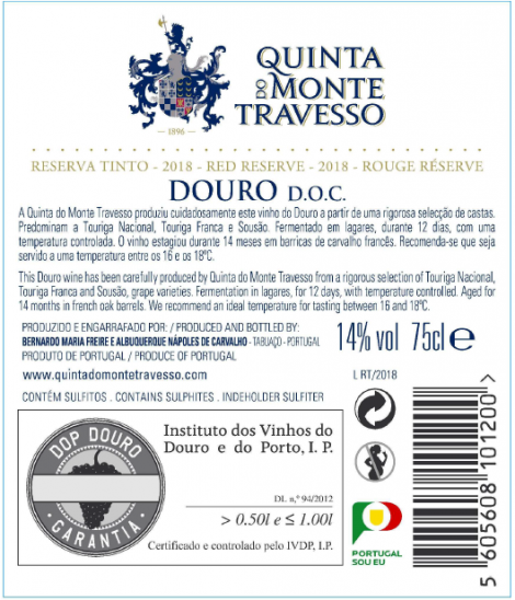 Tinto Quinta do Monte Travesso Reserva 2016