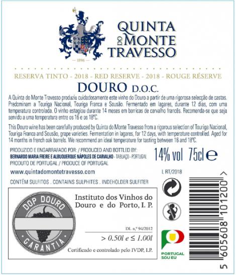 Tinto Magnum Quinta do Monte Travesso Reserva 2016 cx Madeira