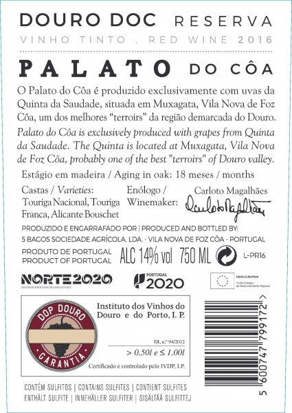Tinto Palato do Côa Reserva 2016
