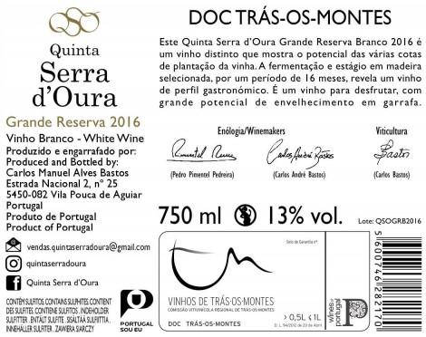 Branco Quinta Serra D´ Oura Grande Reserva 2016