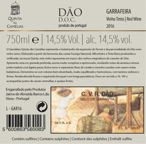 Tinto Quinta das Camélias Garrafeira 2012
